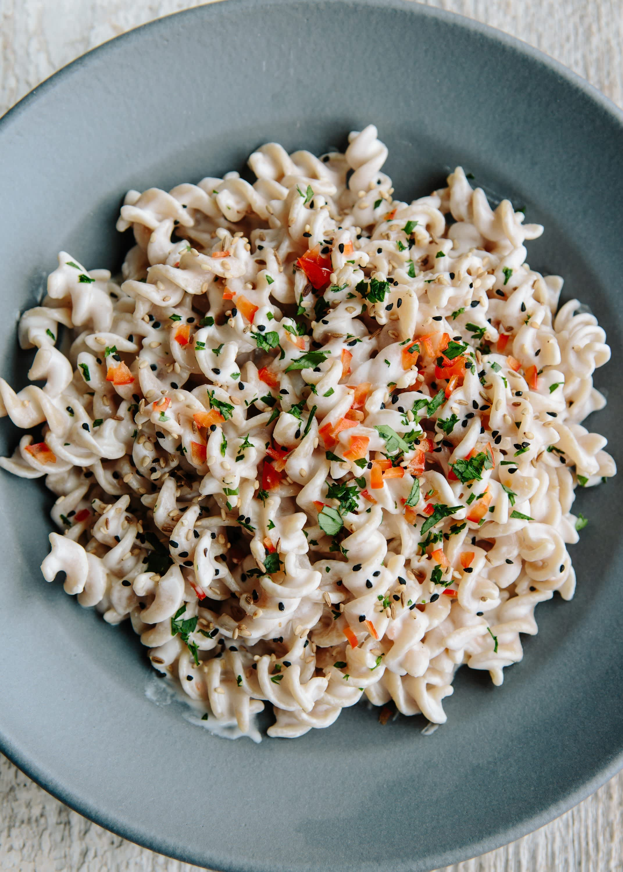 Fusilli with Tahini Yogurt Sauce and Nigella Seeds