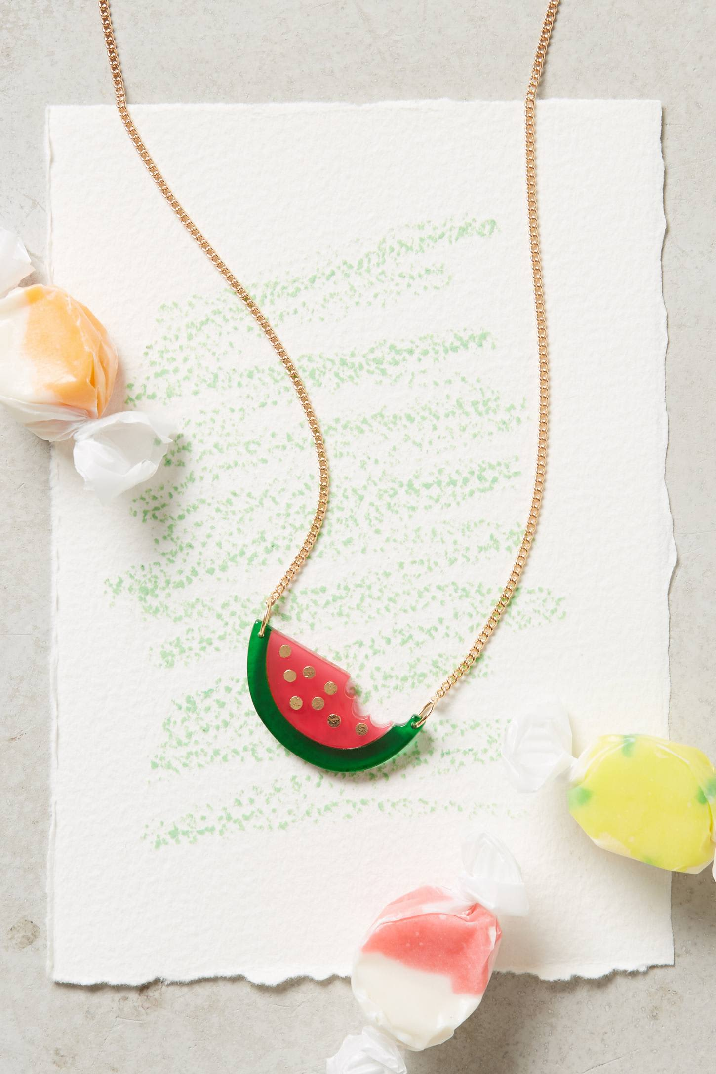 Watermelon Resin Necklace   Anthropologie