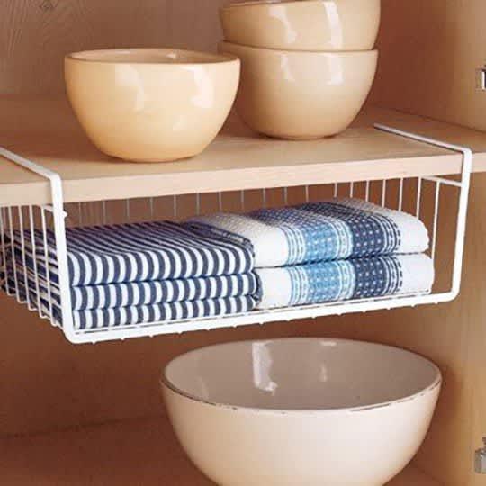 Under shelf basket with dish cloths