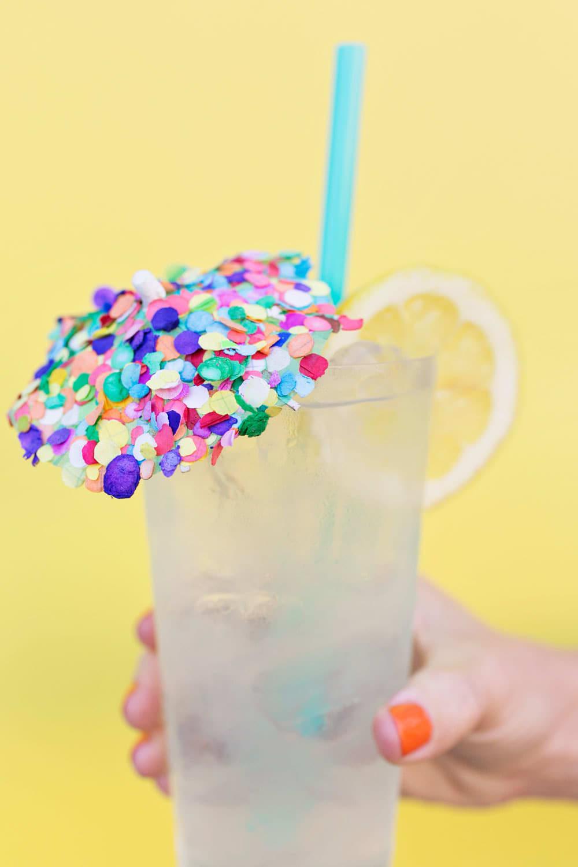 DIY Confetti Drink Umbrella