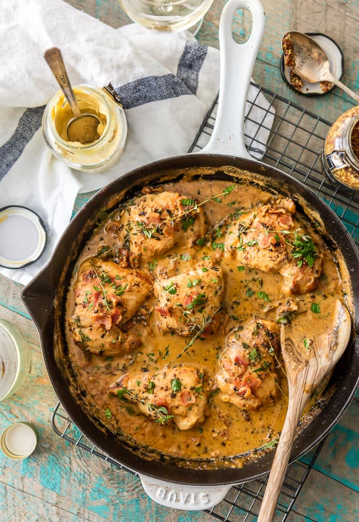 One-Pot Mustard Chicken & Bacon Skillet