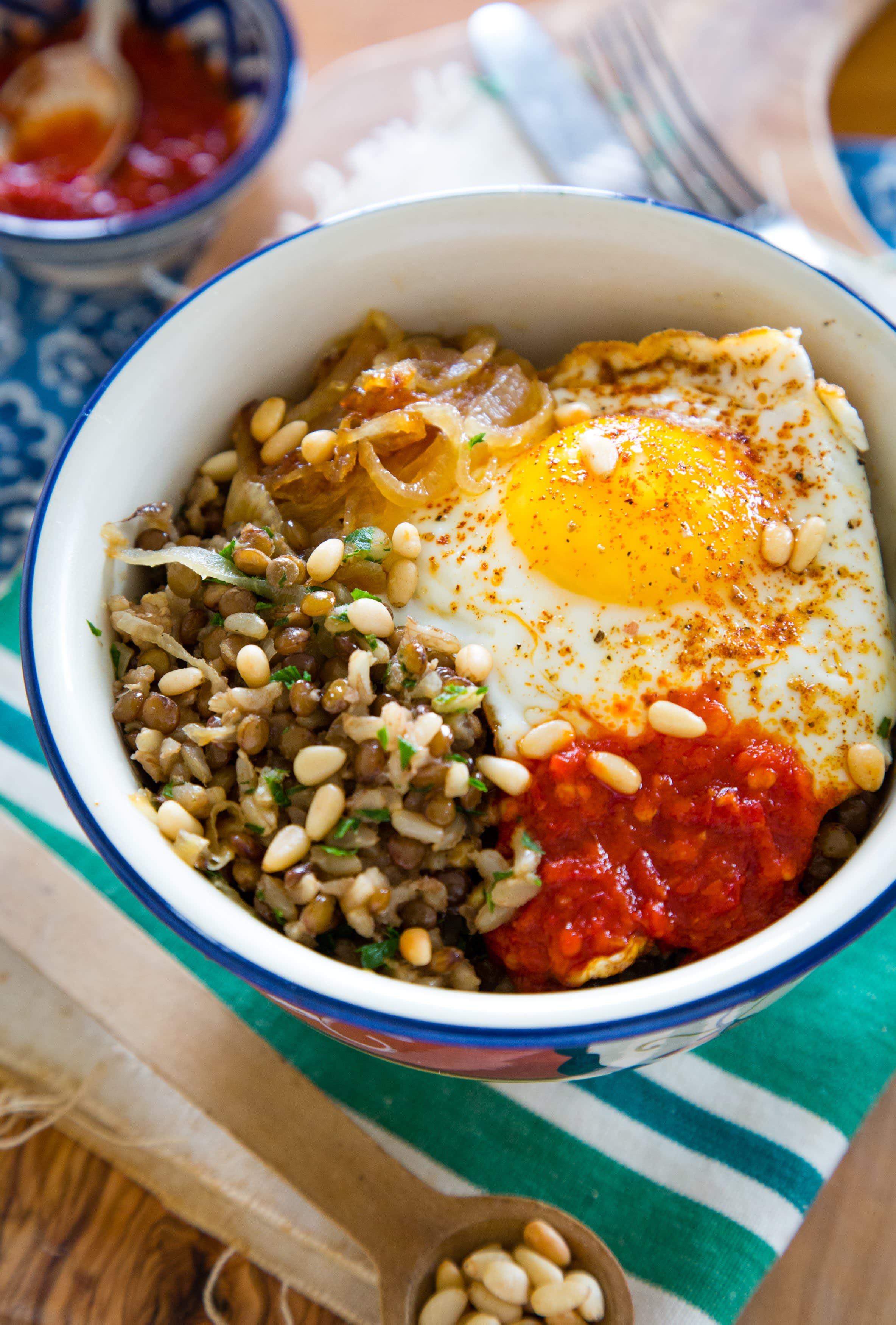 brown rice mujadarra bowls