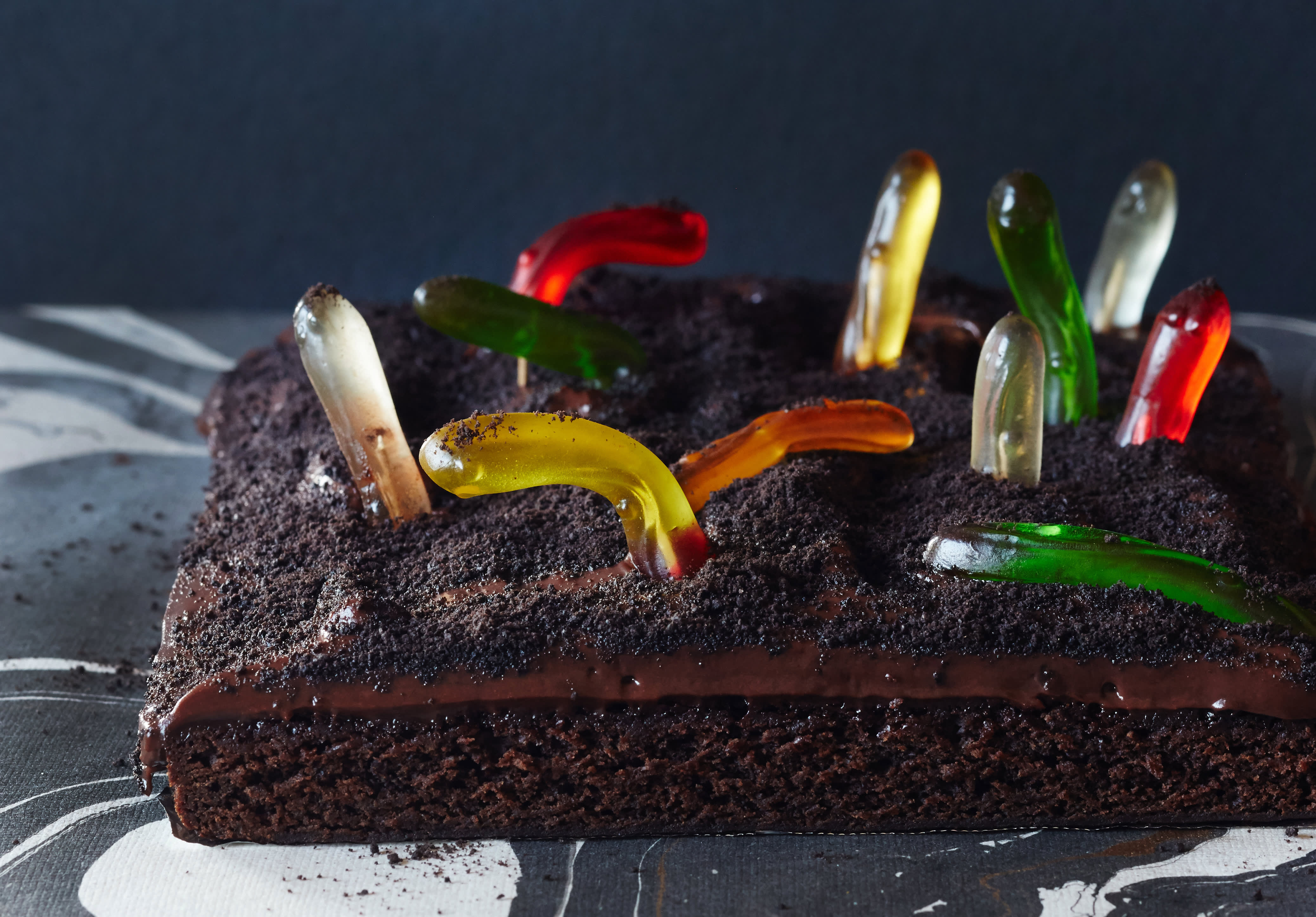 Brownies Go Boo! With a Gummy Worm Graveyard