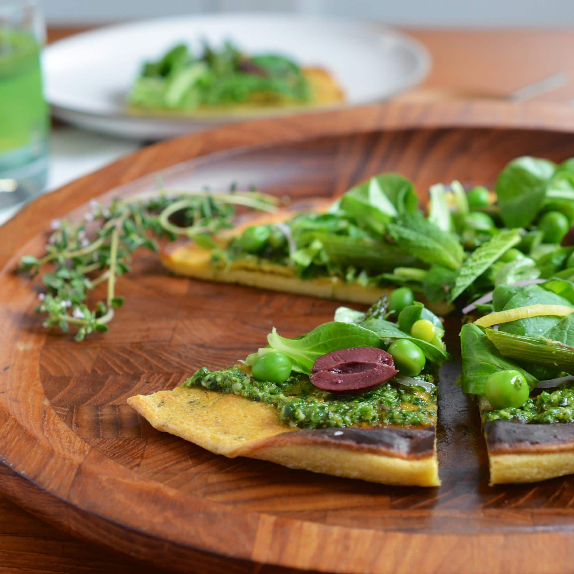 Recipe: Socca Flatbread with Spring Pesto and Salad