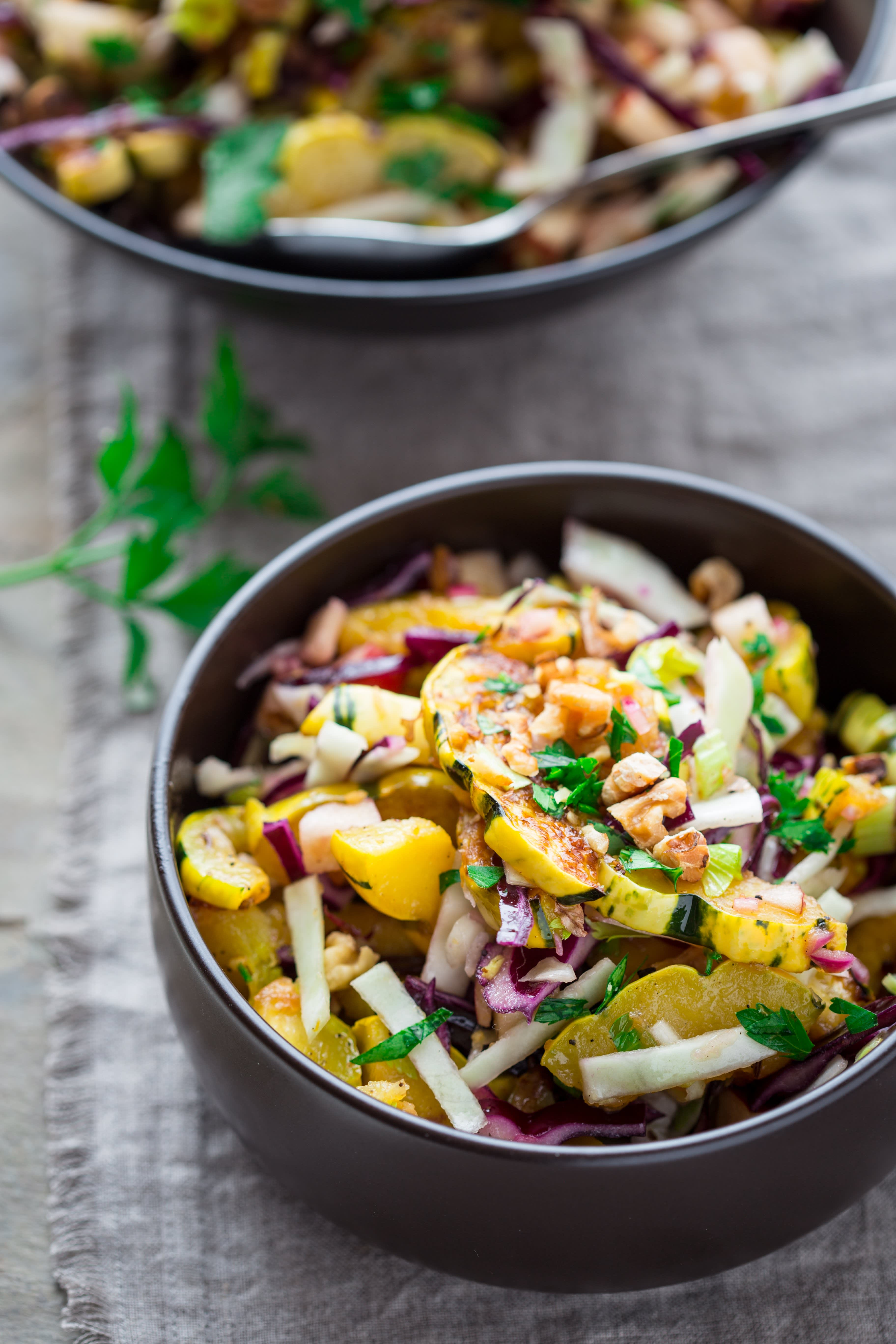 Roasted Delicata Salad with Warm Pickled Onion Dressing