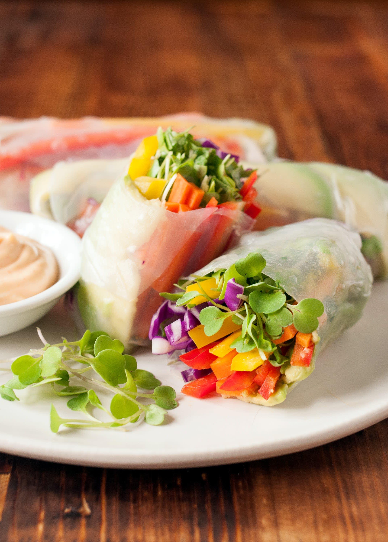rainbow vegetable vegetarian vegan spring rolls recipe