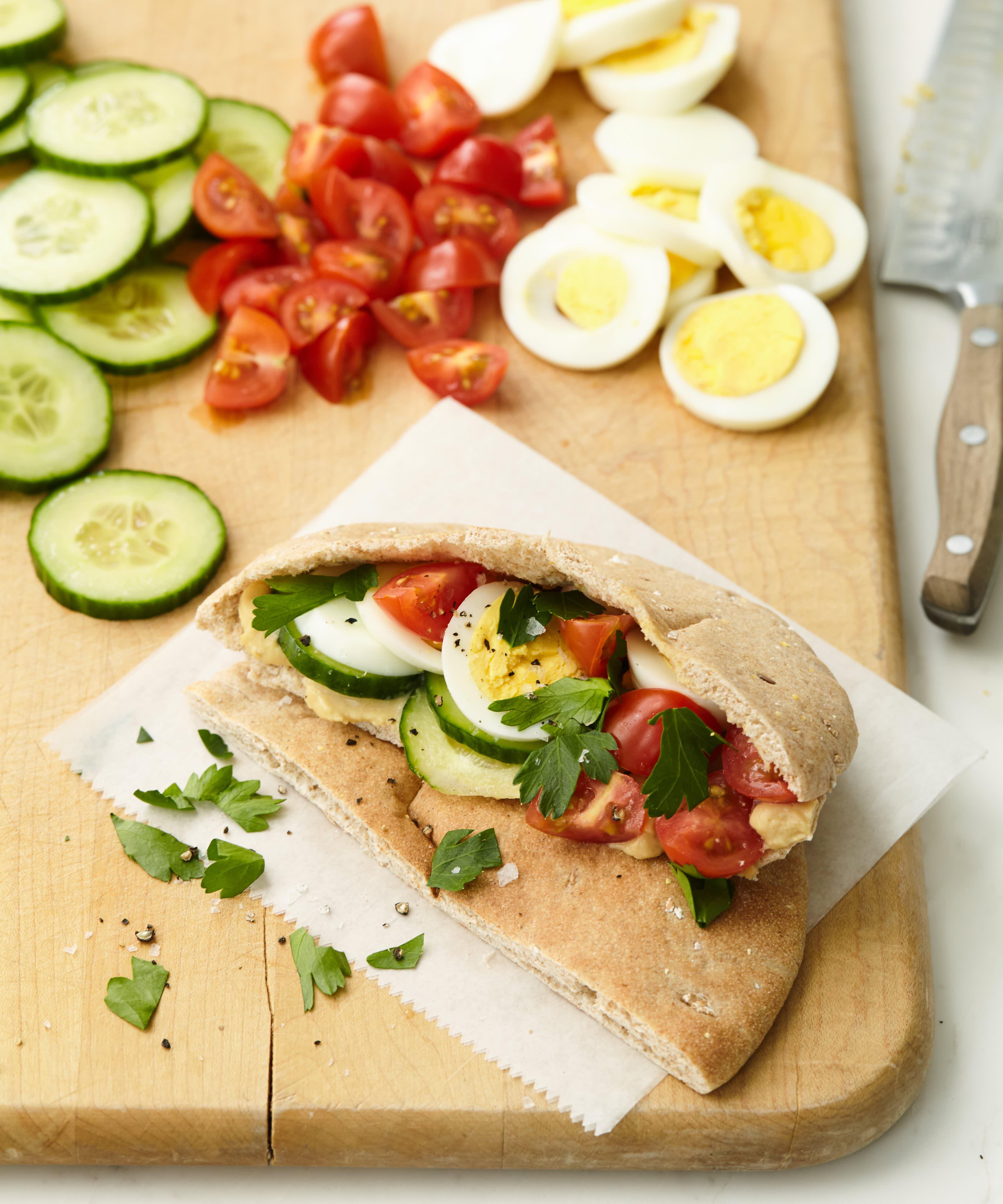 Mediterranean Pita Egg Sandwiches