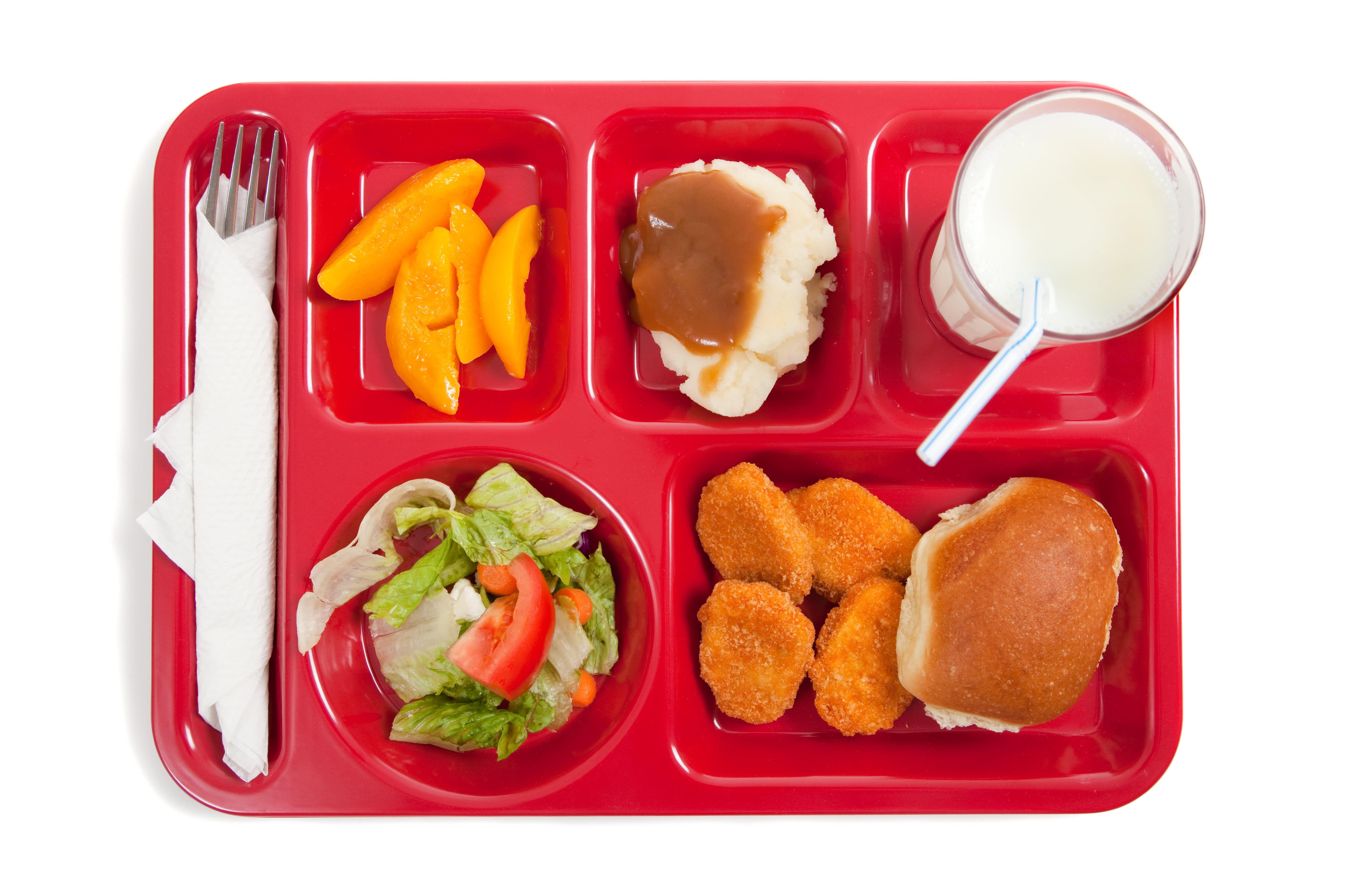 School lunch on a tray.