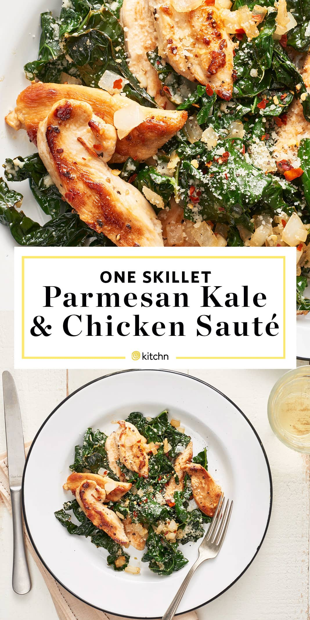 One Skillet Parmesan Kale and Chicken Saute