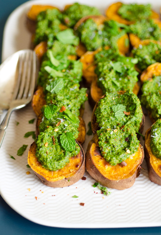 Roasted Sweet Potato Slices with Cilantro Pesto