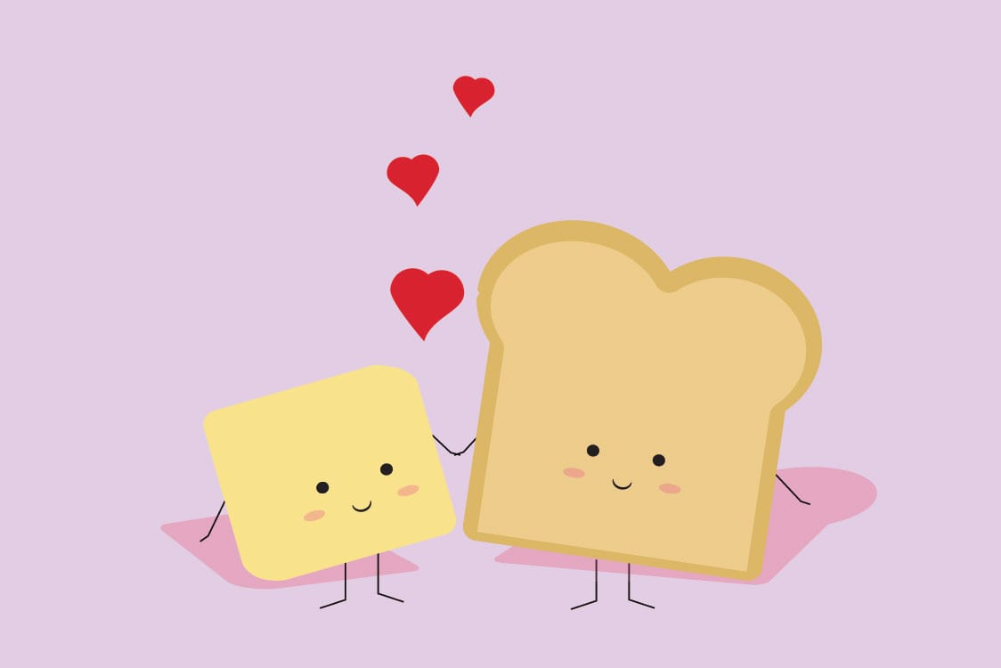 Toast and butter together illustration