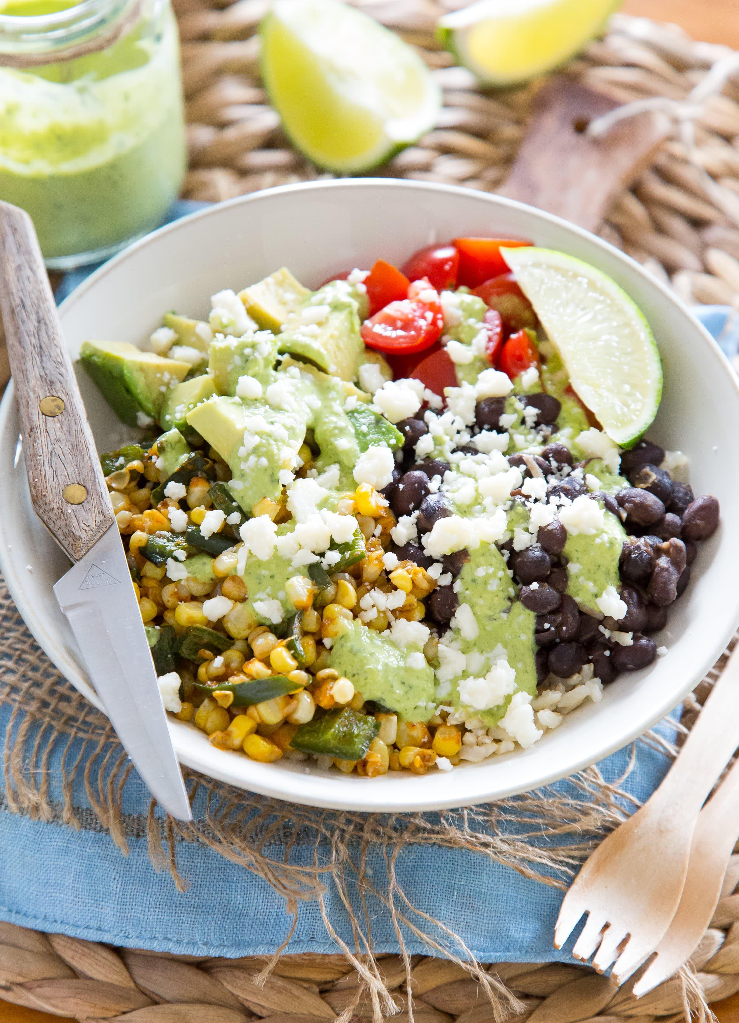 Roasted corn and poblano burrito bowl