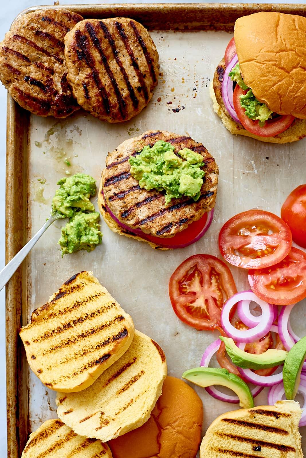 Avocado Turkey Burger - Prep, on sheet pan