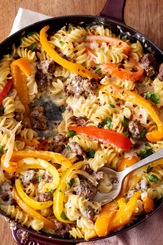 Recipe: Philly Cheesesteak Pasta Skillet