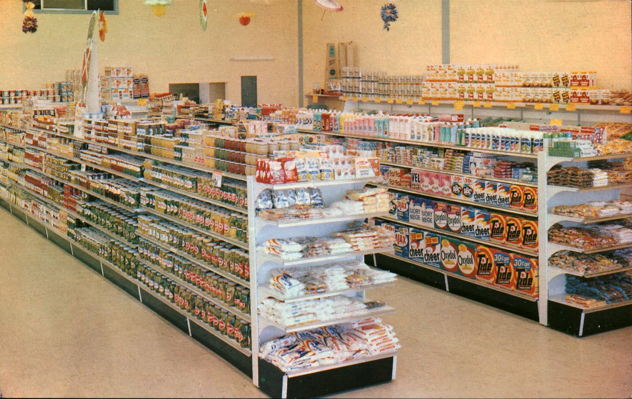 Endcap in Vintage Photo of Grocery Store