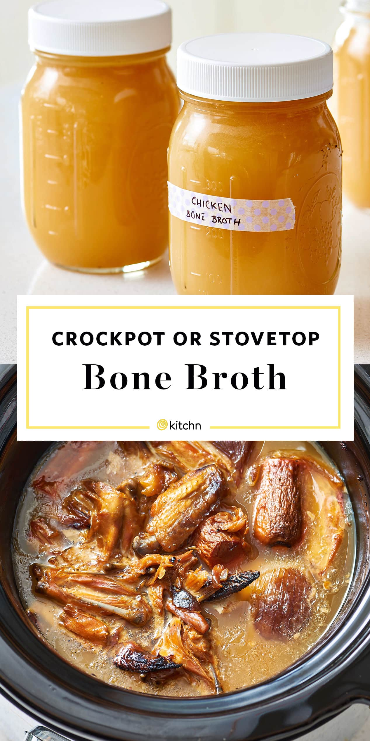 Stovetop Slow Cooker Chicken Bone Broth Recipe