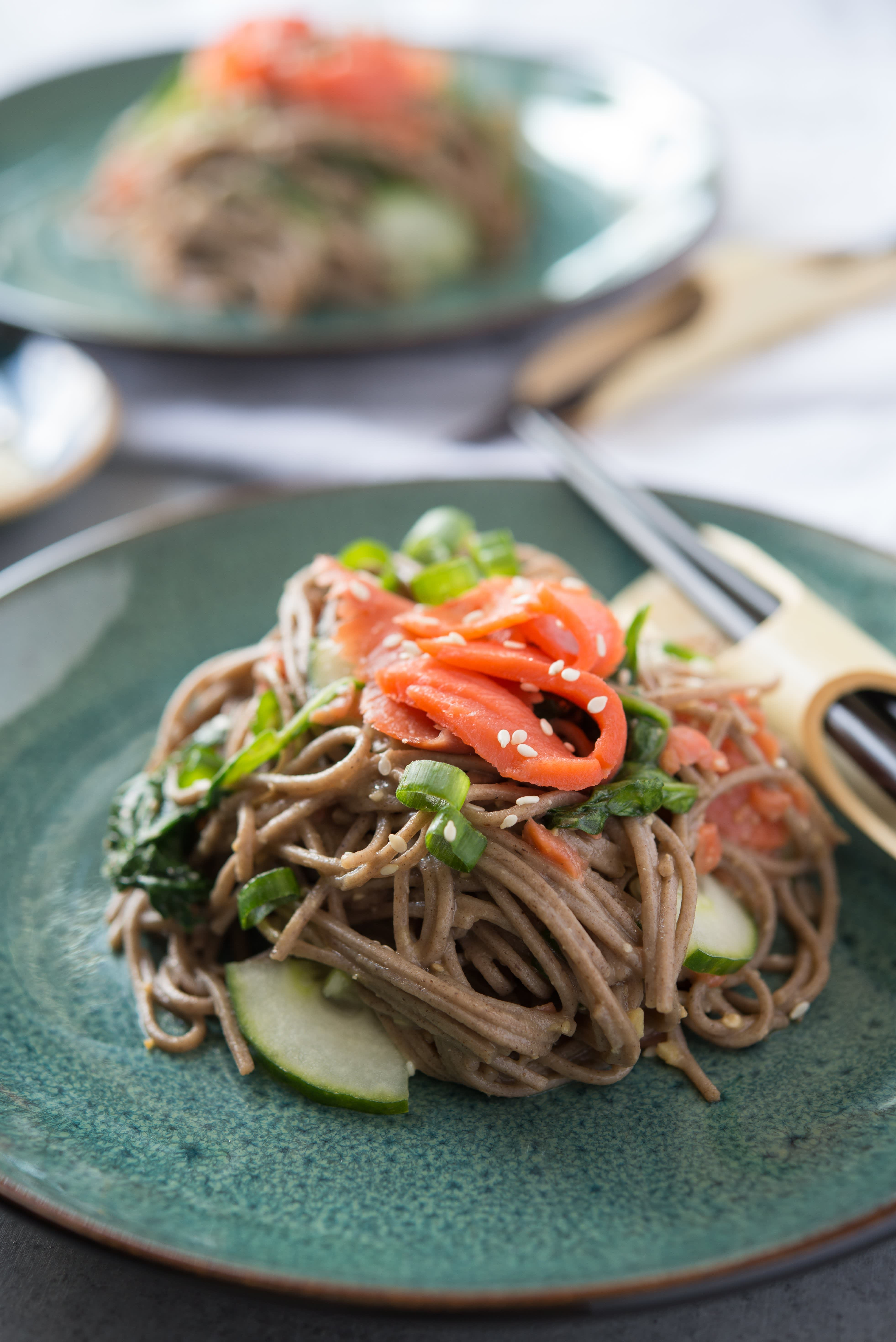 Miso and Smoked Salmon Soba Noodles