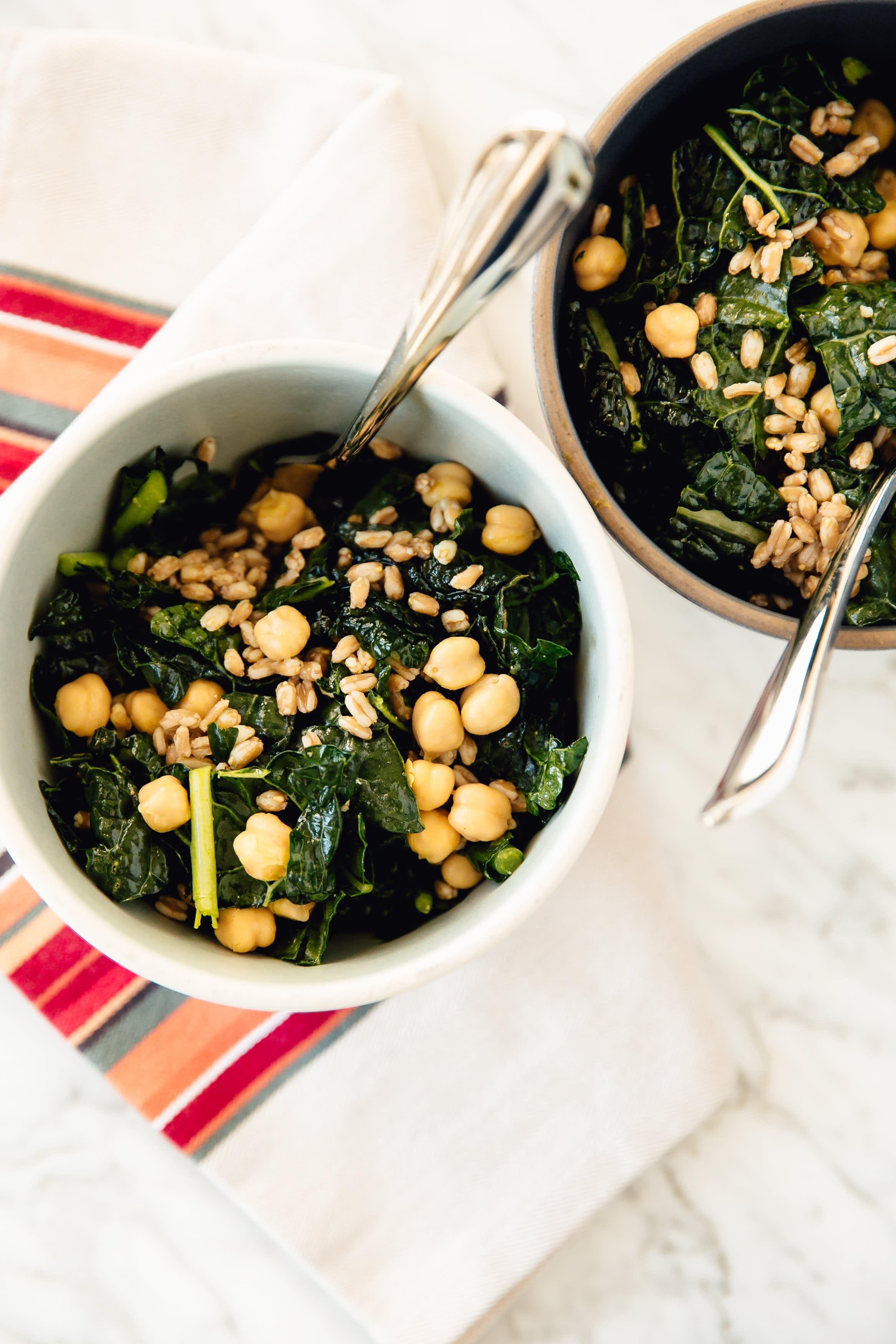 Kale, Farro, and Chickpea Salad