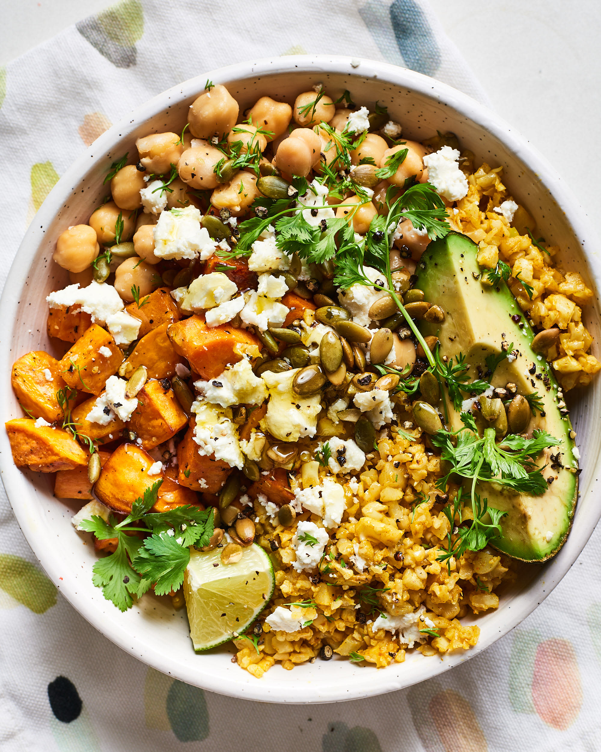 Recipe: Cauliflower Rice Lunch Bowl with Sweet Potatoes and Chickpeas