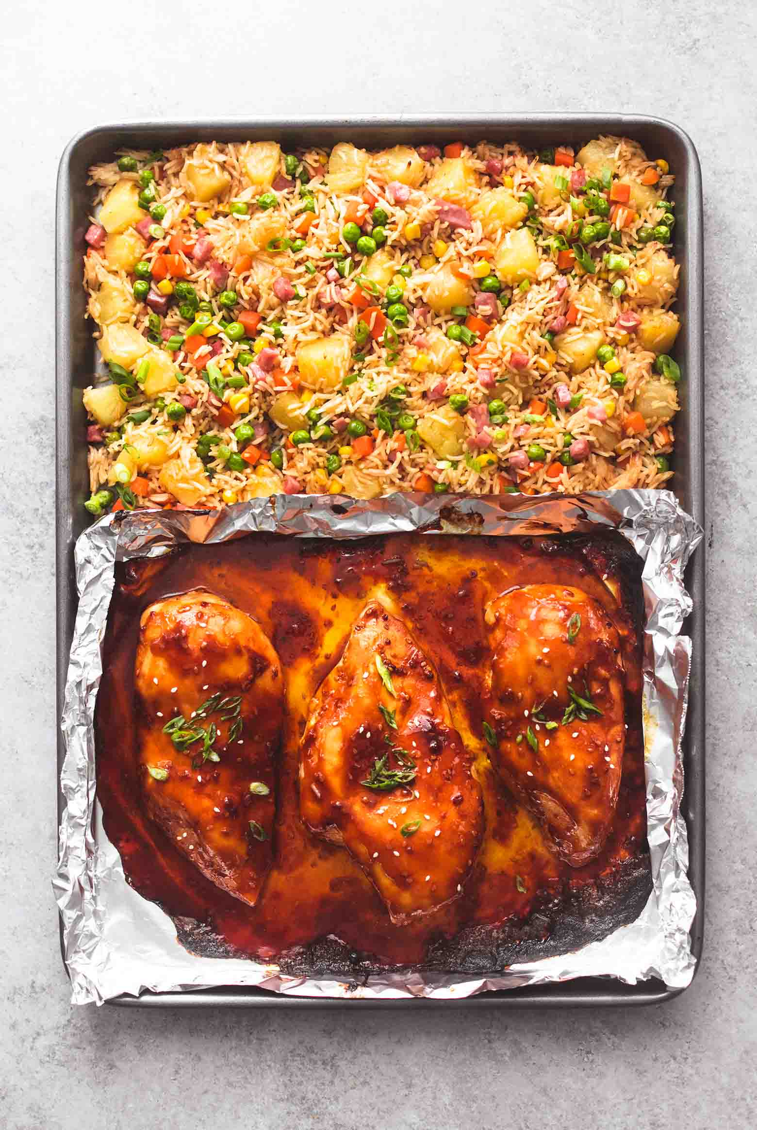 Easy Sheet Pan Teriyaki Chicken and Pineapple Rice Is Dreamy
