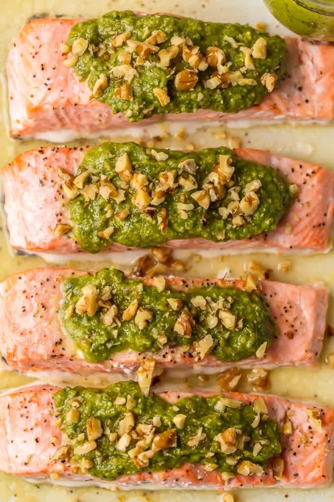 Baked Pesto Salmon Is a Healthy Weeknight Favorite