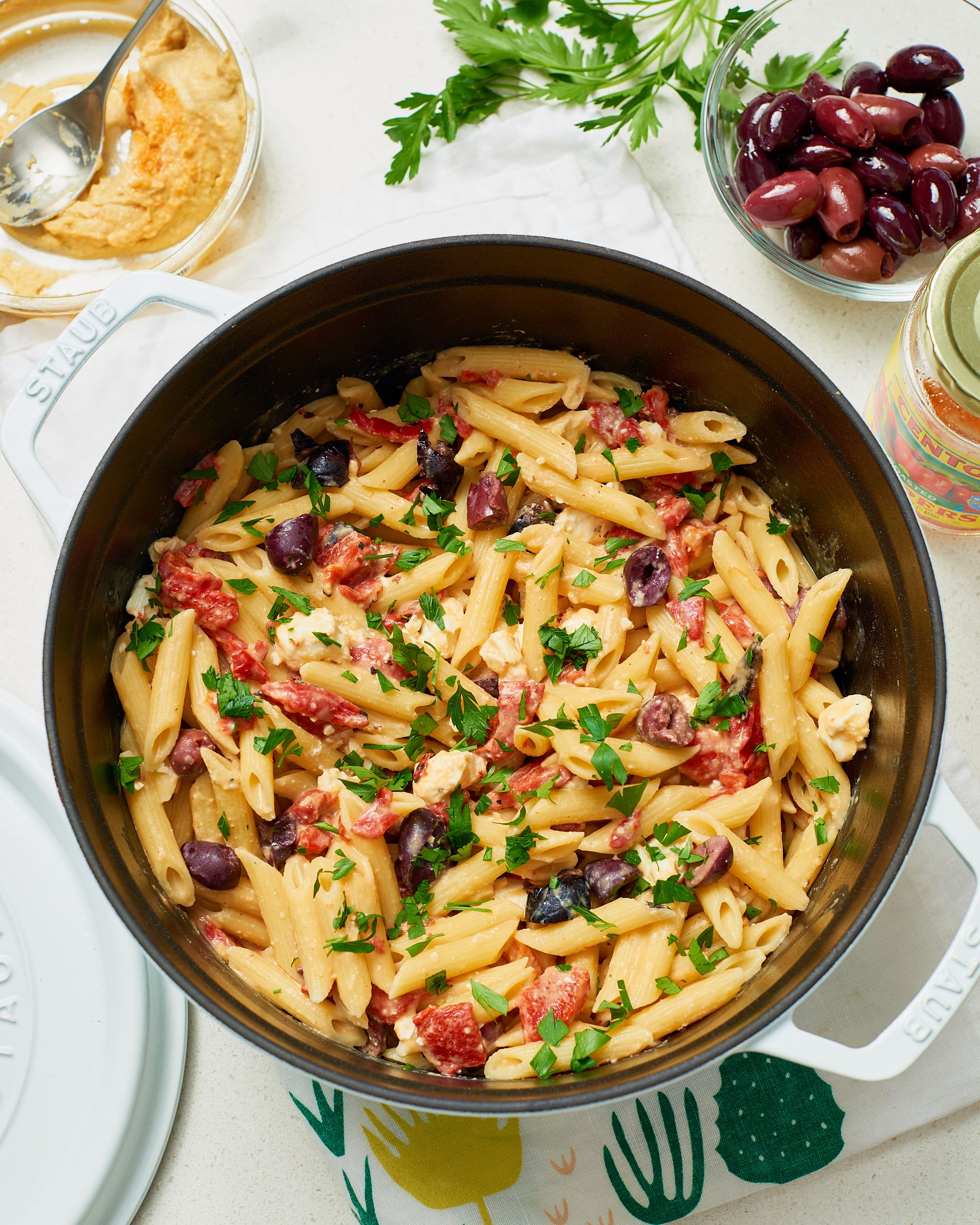 pasta with hummus olives feta kitchn kitchn