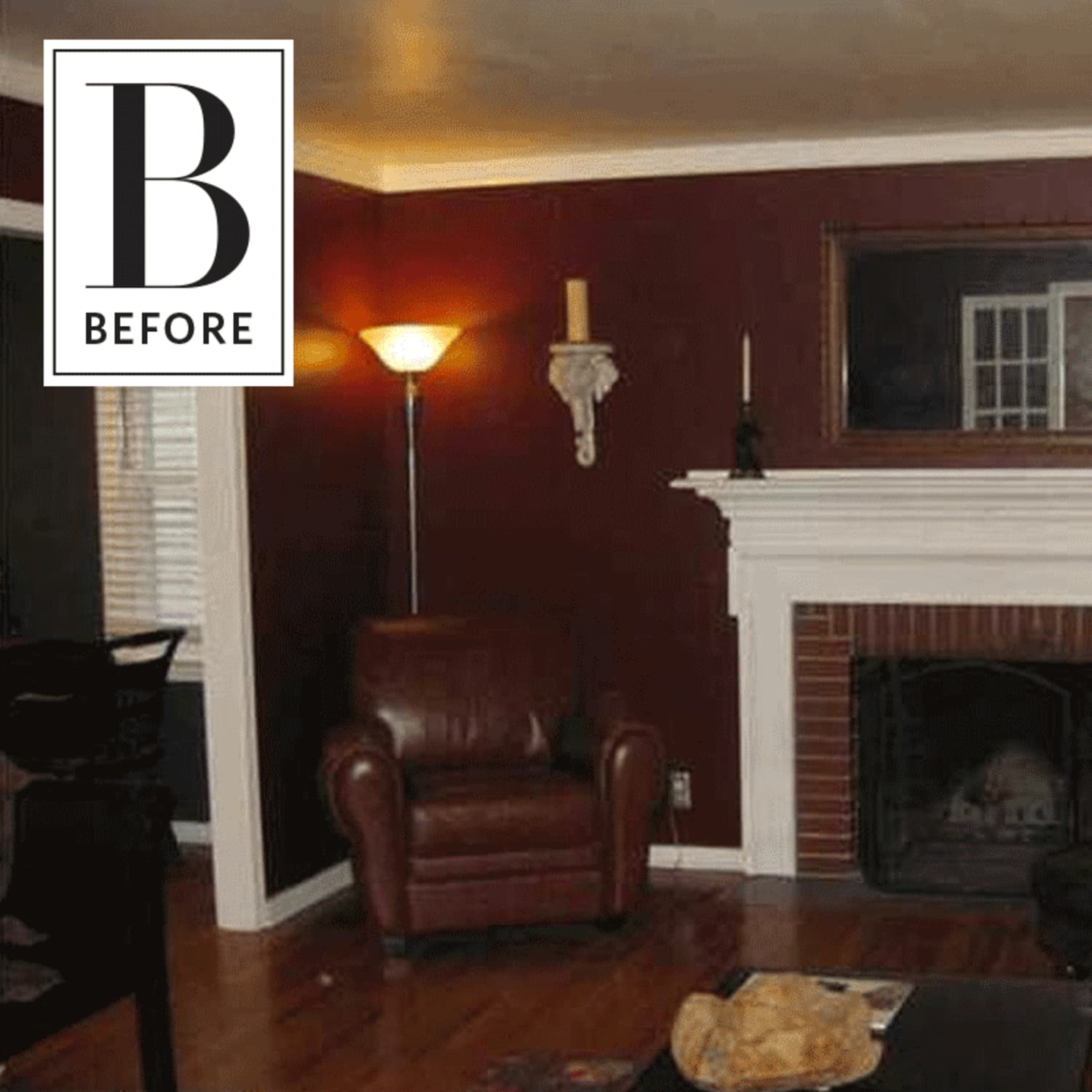 Before and after a dark maroon living rooms bright awakening