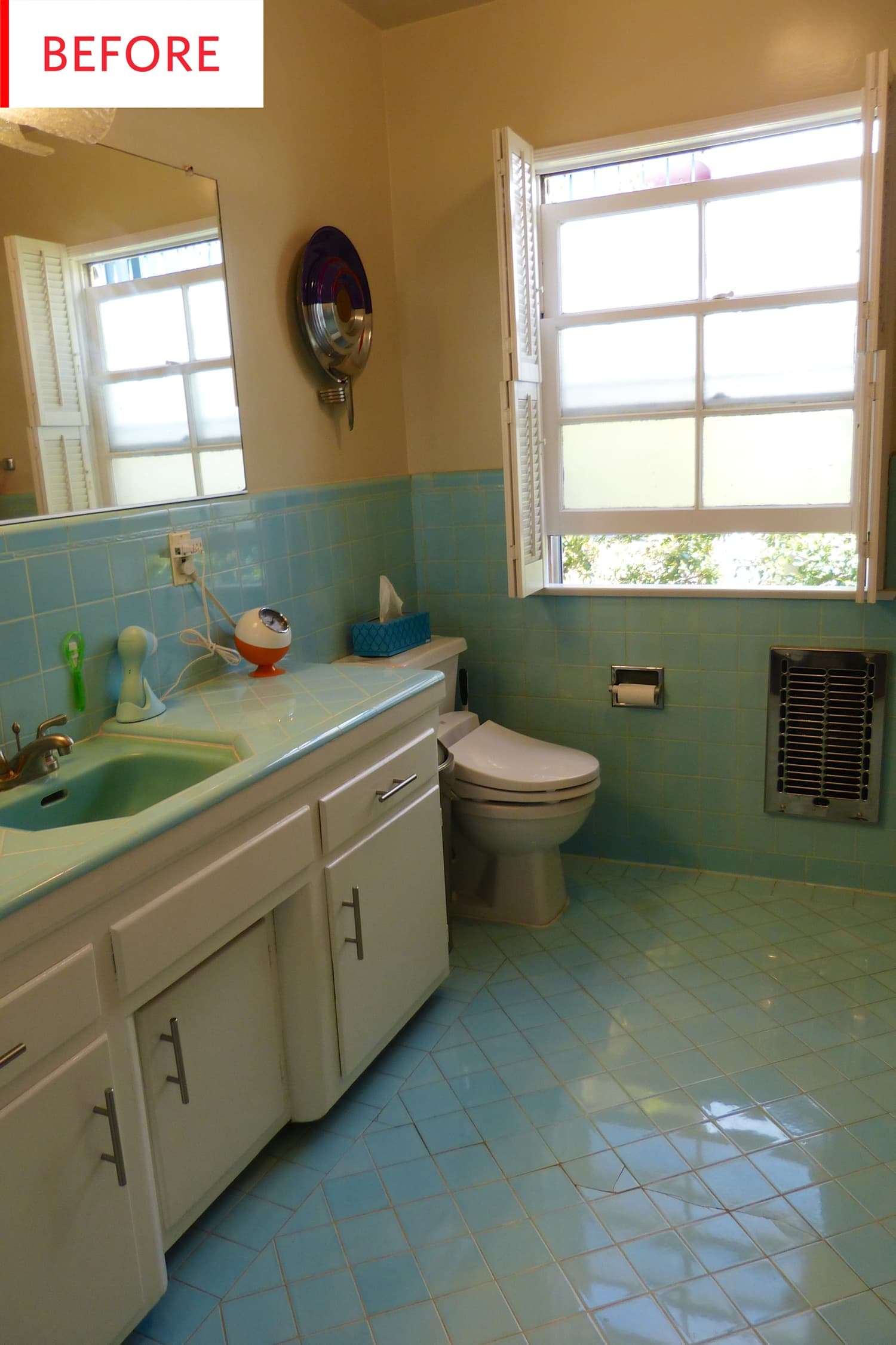 Before and After: This Bathroom Keeps Its Original Tiles