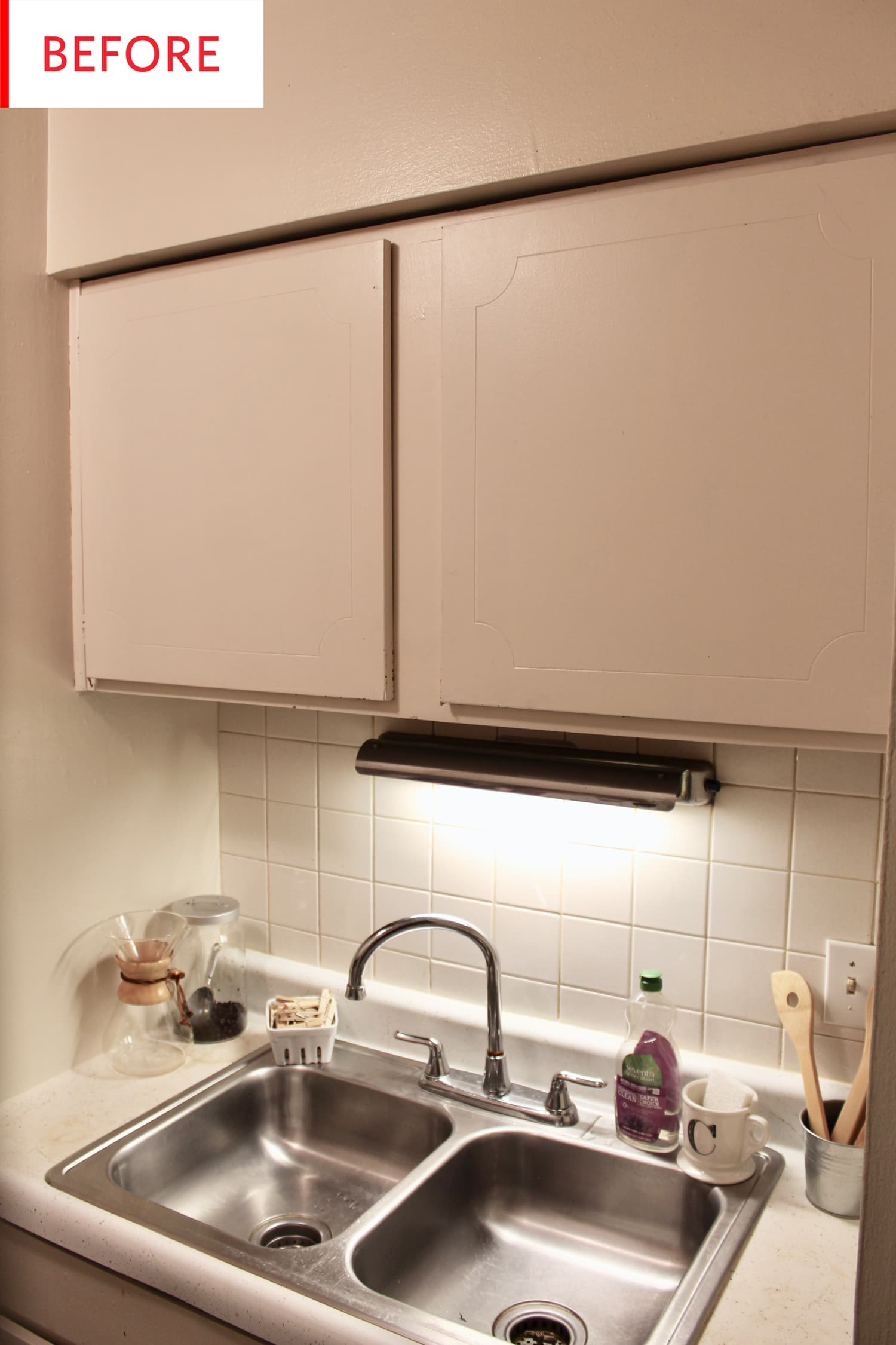 Before and After: A Very Satisfying $30 Kitchen Cabinet Upgrade