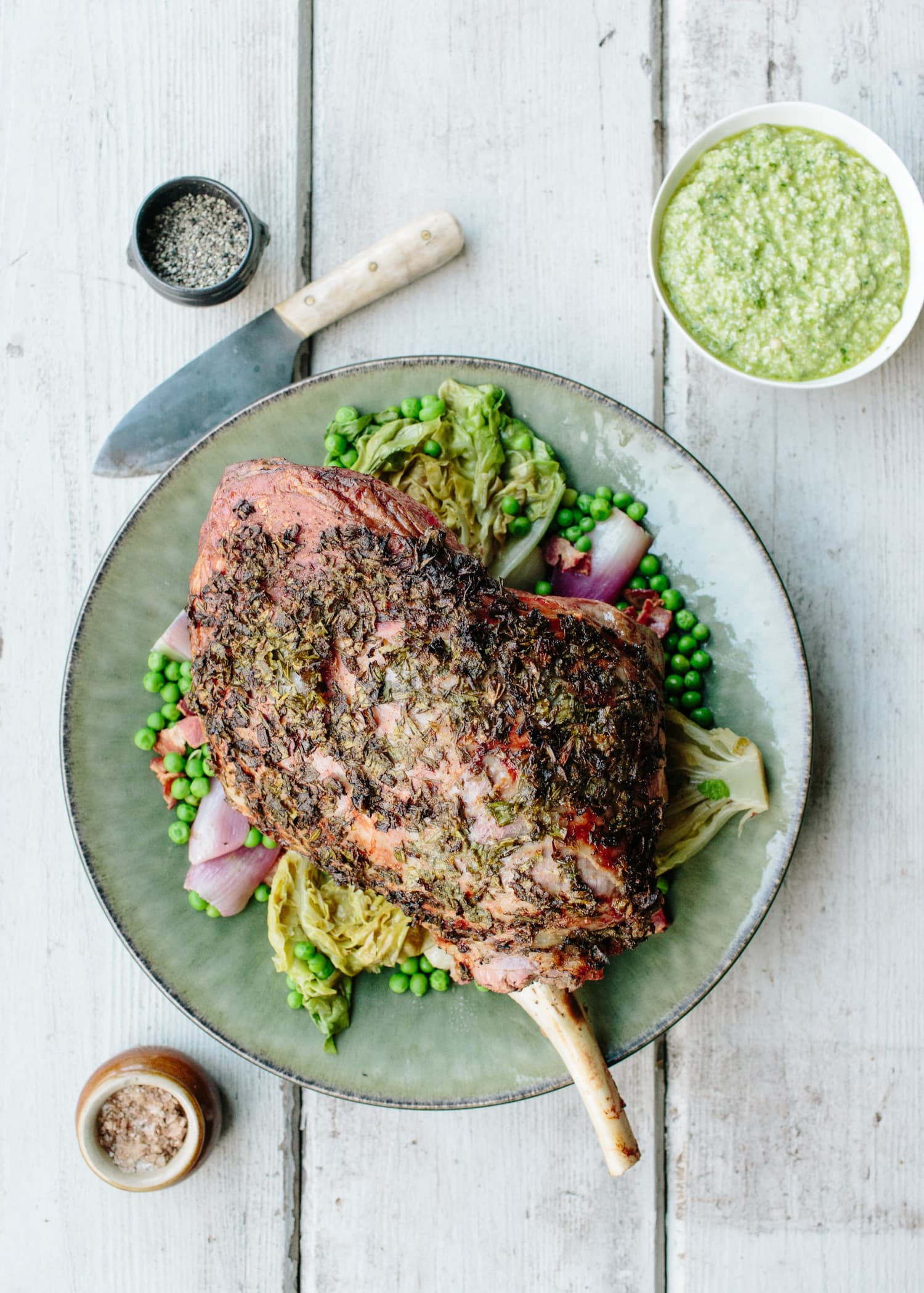 Donal Skehan's Roast Lamb with Green Garlic, Lettuce & Peas Is a Show-Stopping Dish