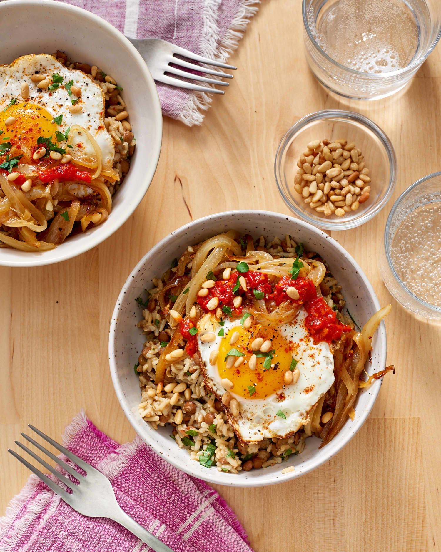 Recipe: Brown Rice Bowl with Lentils, Caramelized Onions & Fried Egg