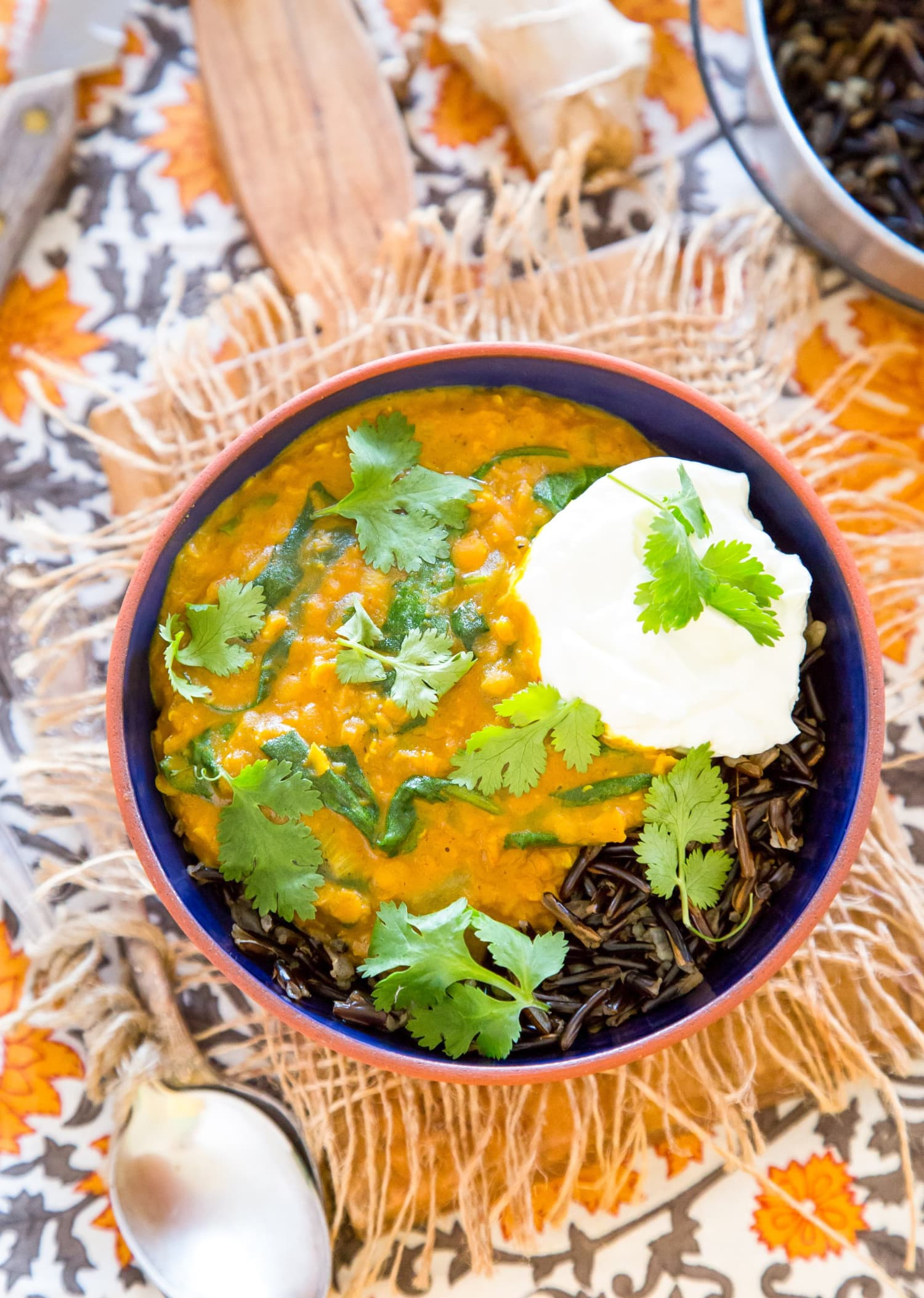 Recipe: Wild Rice Bowl with Red Lentil Curry and Spinach