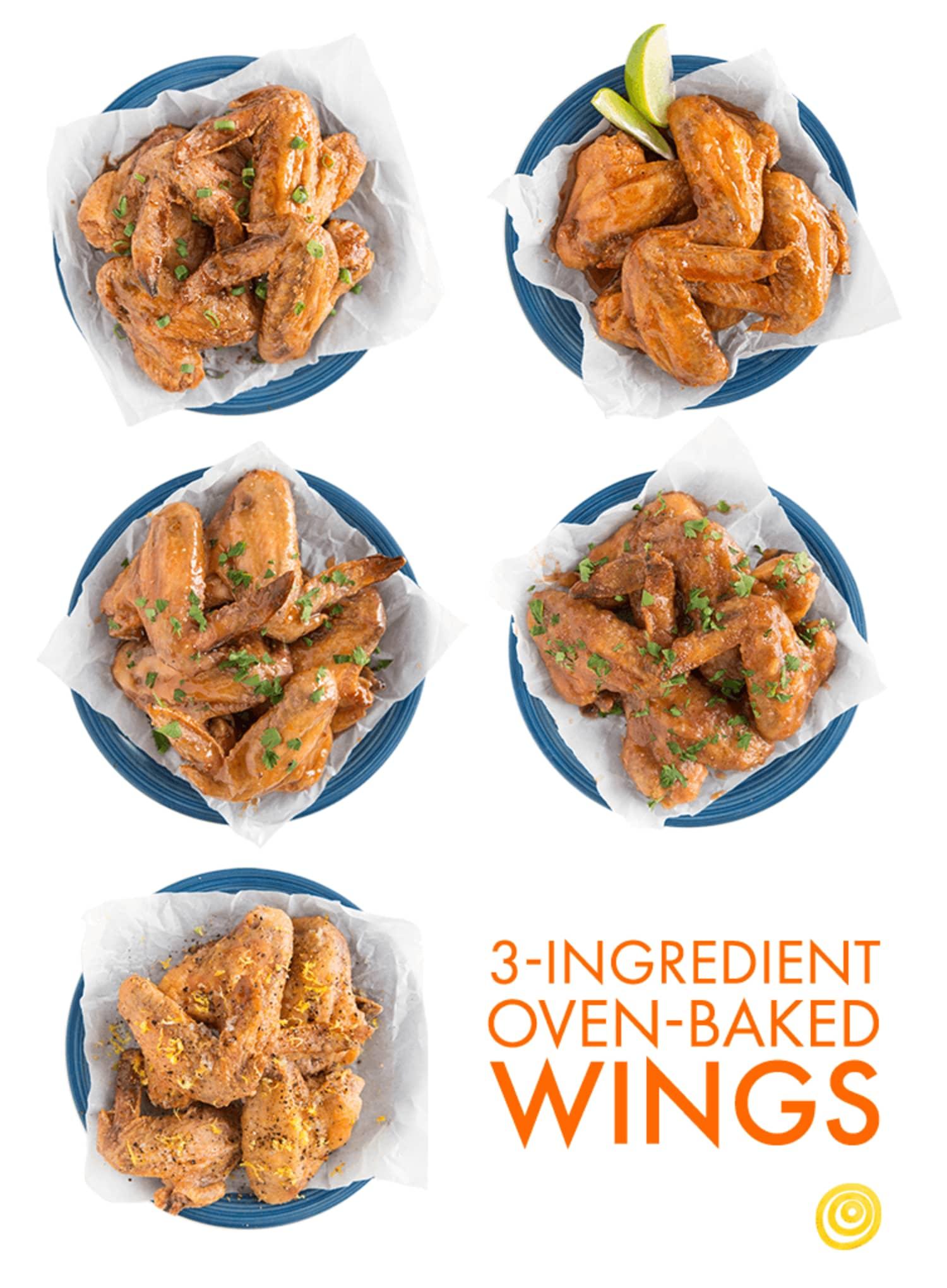 3-Ingredient Baked Wings, 5 Ways