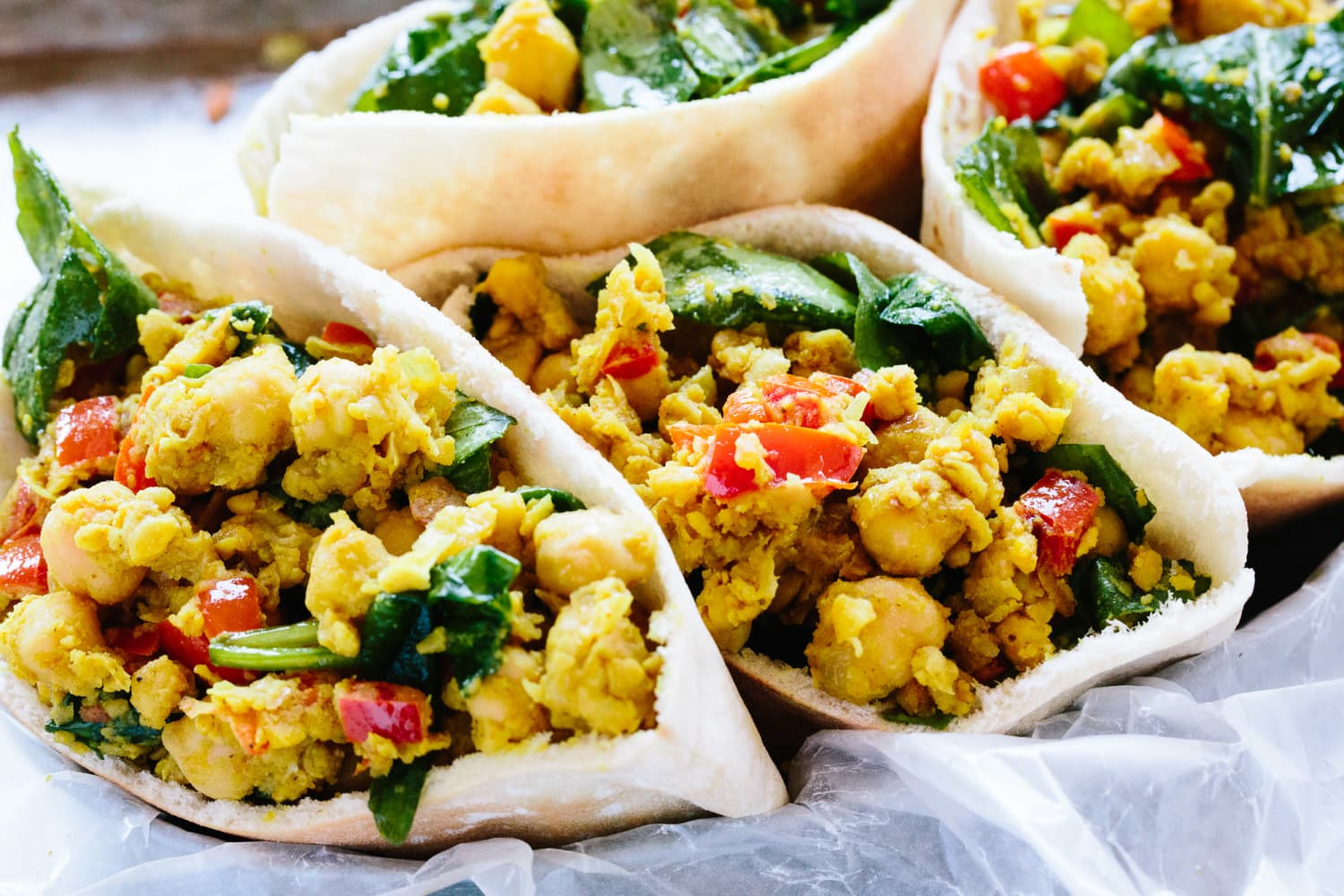 Recipe: Scrambled Chickpea and Spinach Pitas