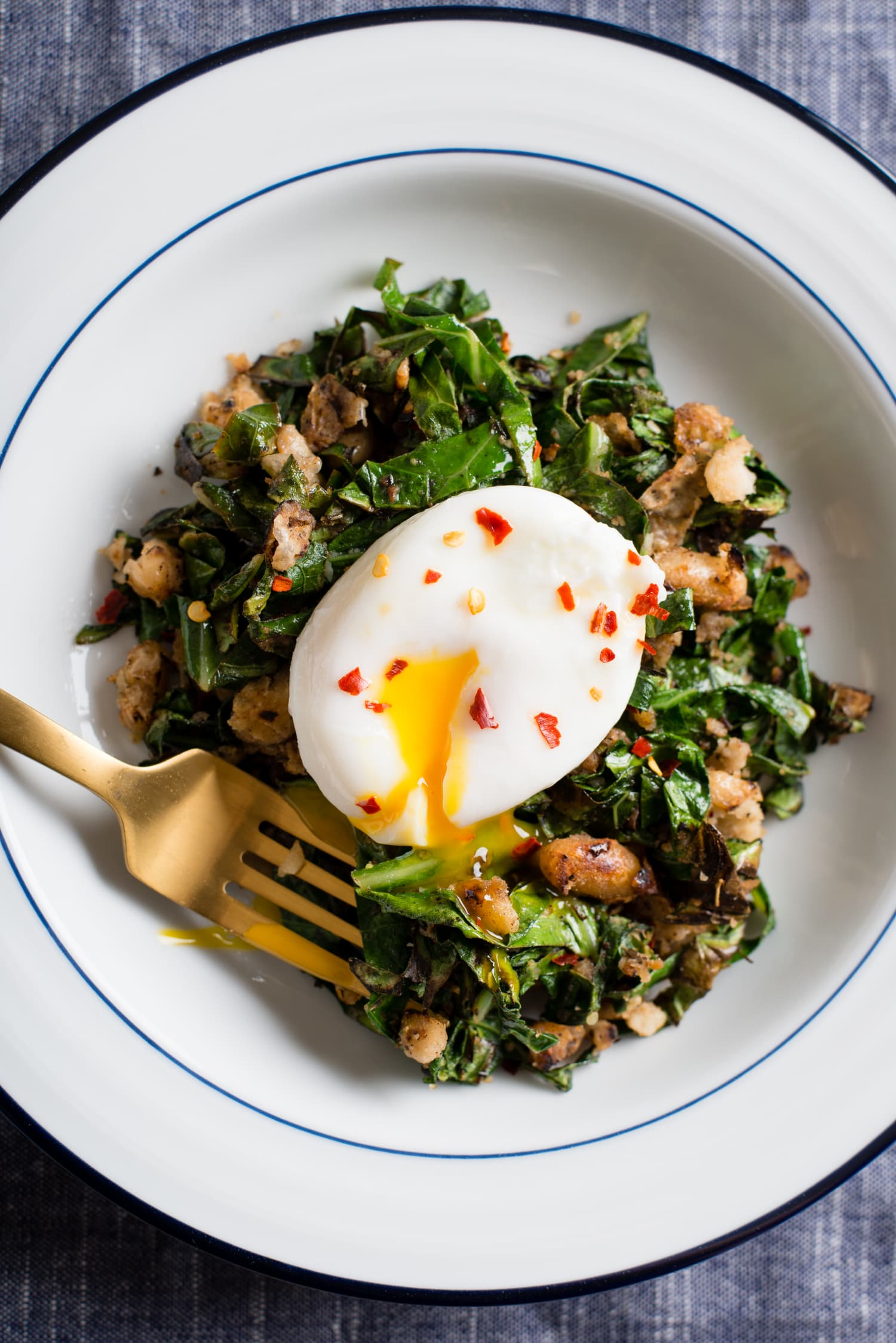 Recipe: Crispy White Beans with Greens and Poached Egg