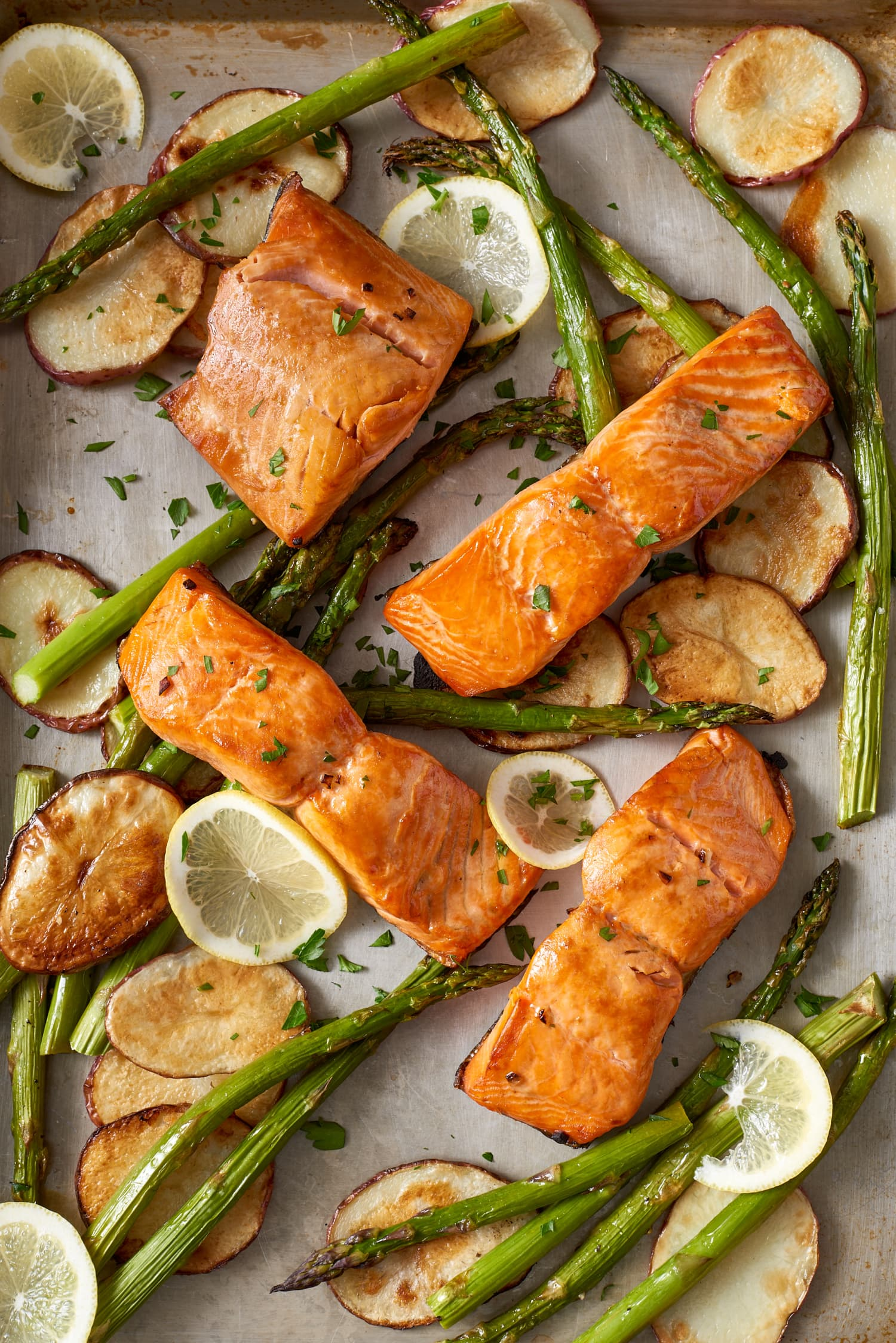 Sheet Pan Crispy Salmon and Potatoes Comes Together in 20 Minutes