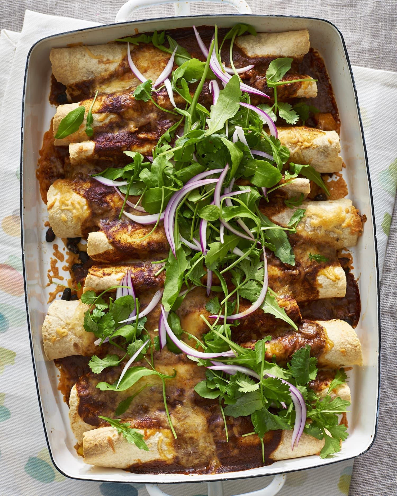 Roasted Squash, Corn, and Black Bean Enchiladas