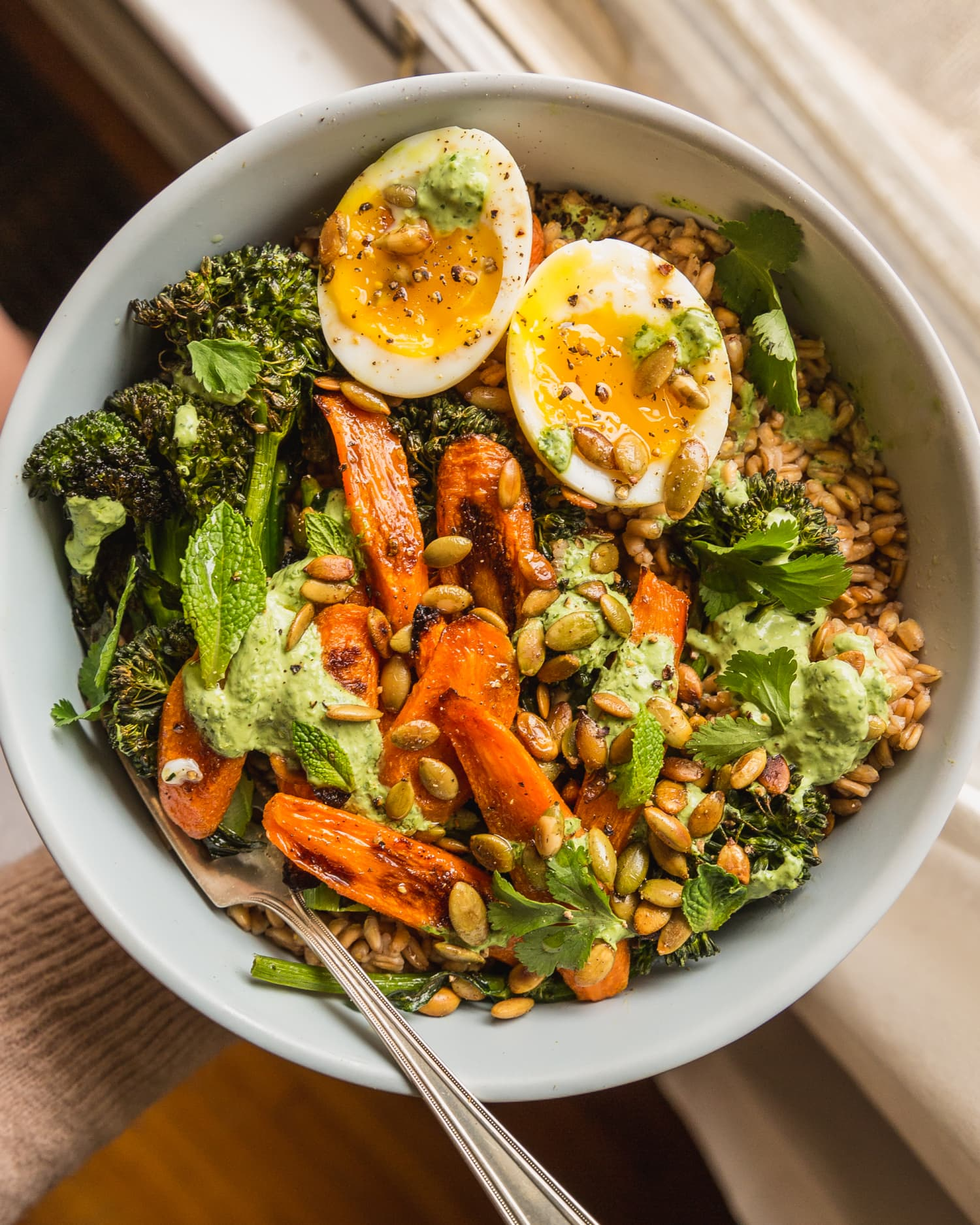 Recipe: Farro with Caramelized Carrots, Crispy Broccolini, and Herby Yogurt Dressing