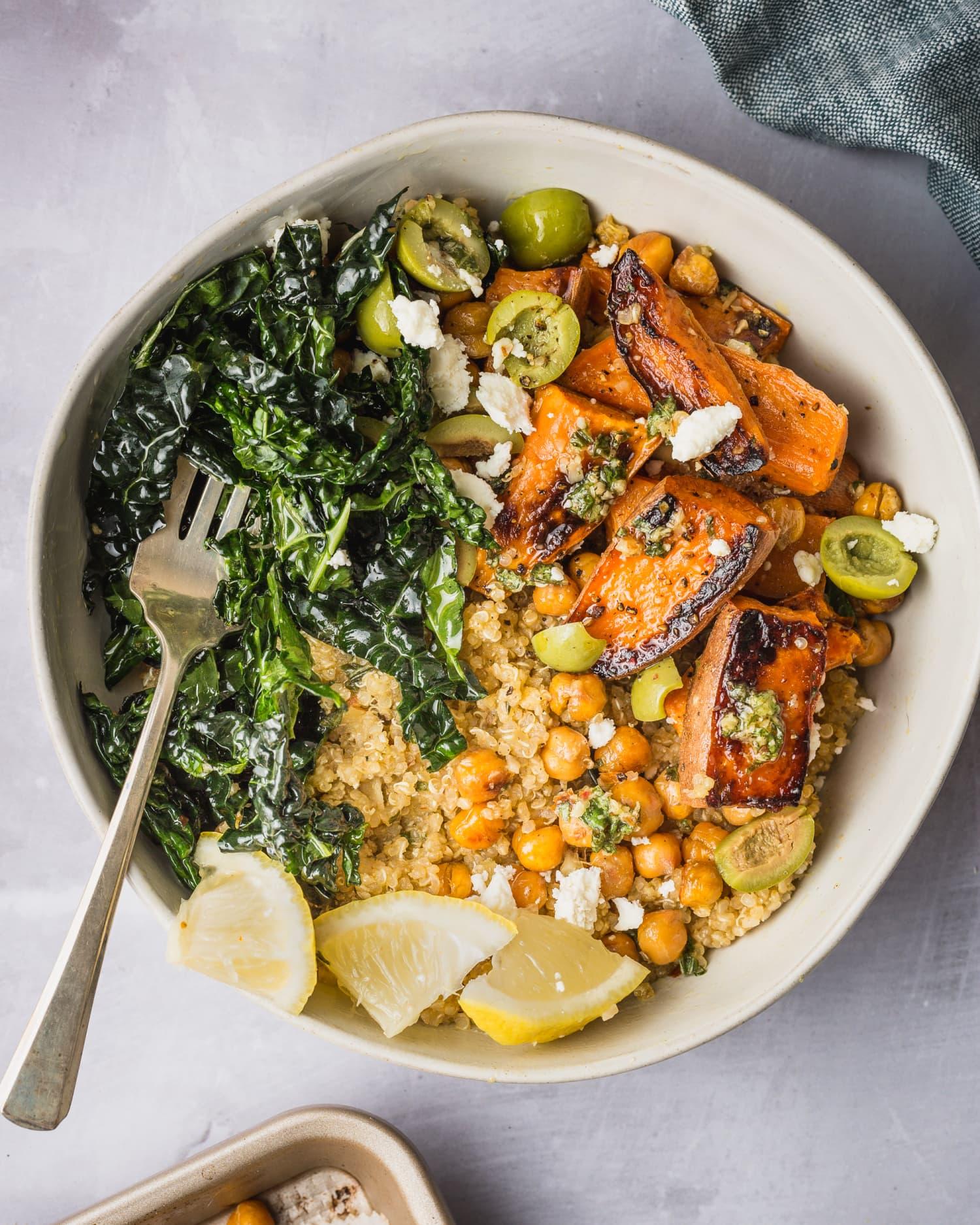 Recipe: Sweet Potato Quinoa Bowls with Crispy Chickpeas and Chopped Pesto