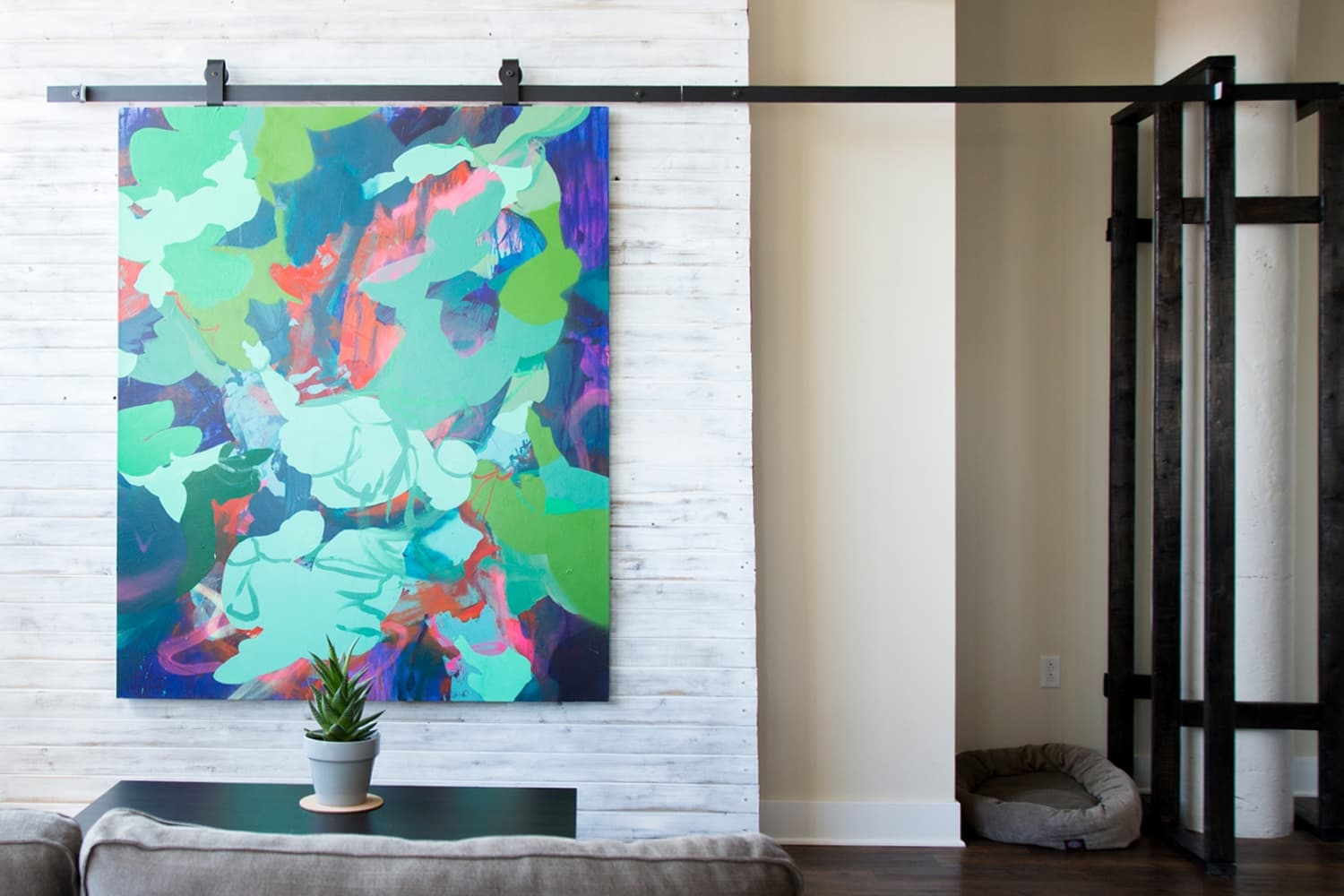 How To Make a TV-Hiding Sliding Art Accent Wall