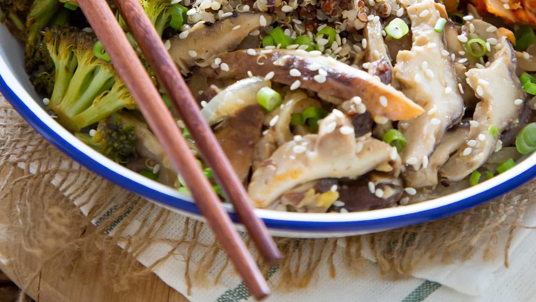 Quinoa Kimchi Bowl with Miso Mushrooms and Crispy Broccoli