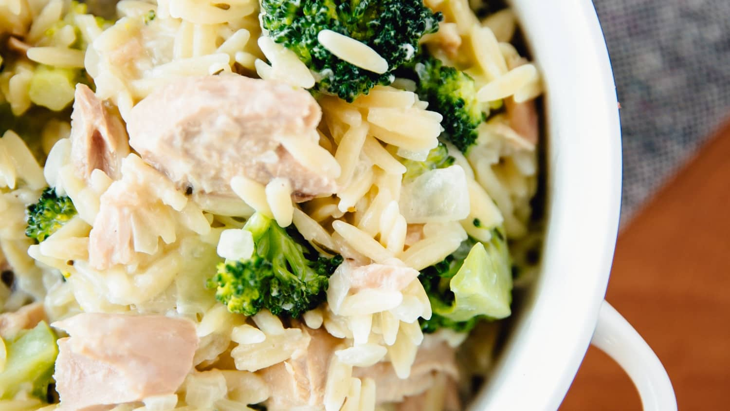 Stovetop Tuna Orzo Casserole with Broccoli