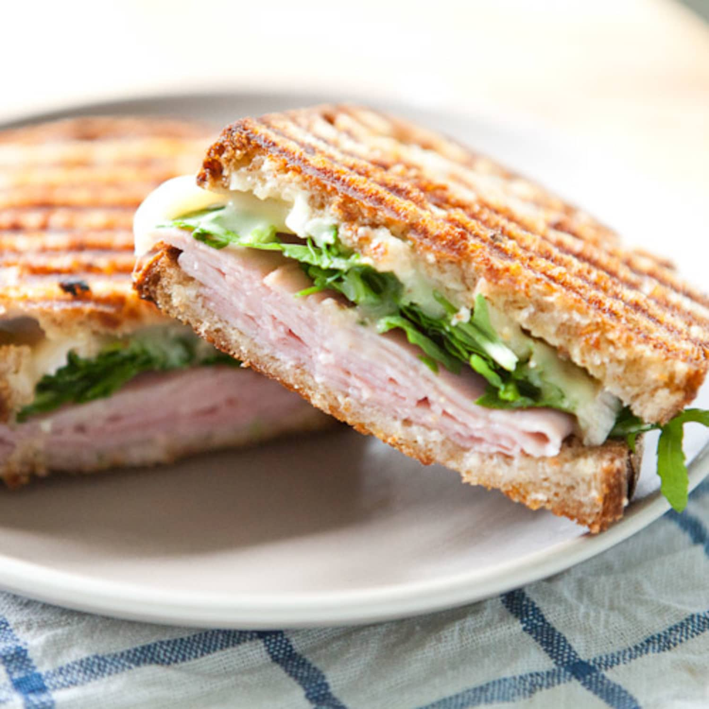 Recipe Ham Brie Marmalade And Arugula Pressed Sandwich Kitchn