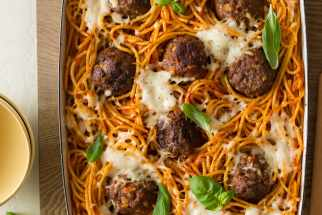 Baked Bucatini and Meatballs