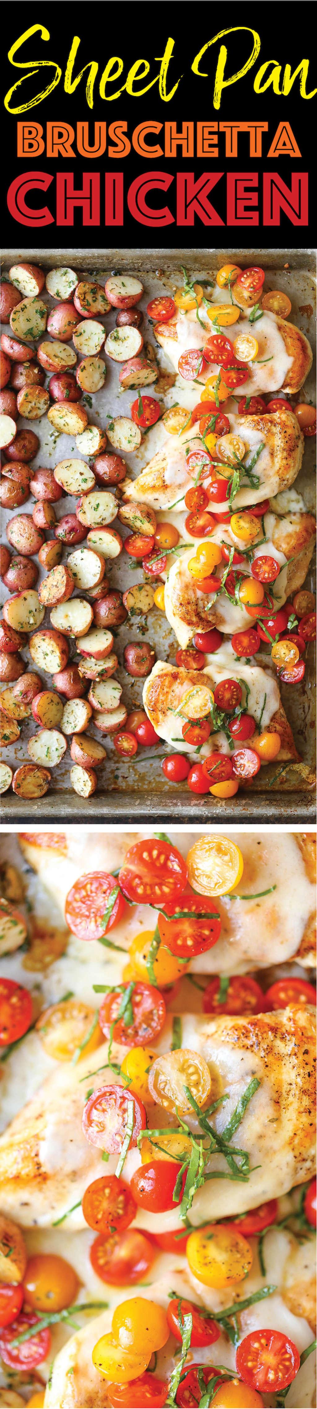 Sheet Pan Bruschetta Chicken from Damn Delicious