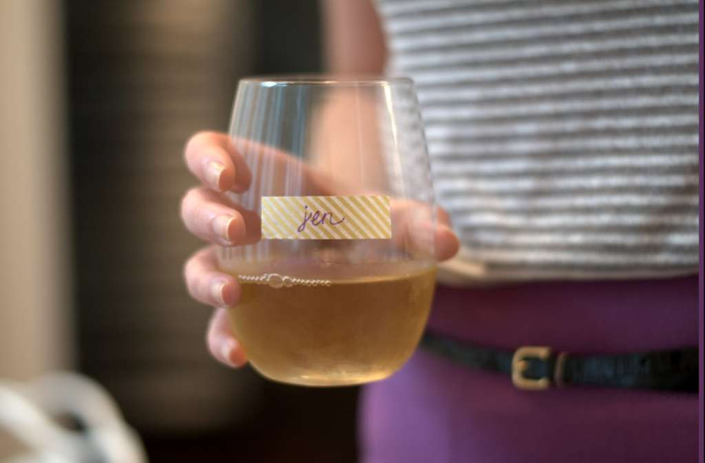 Forget Wine Charms: Use Washi Tape To Label Stemless Wine Glasses