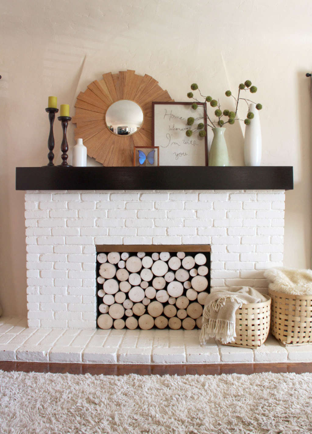 DIY Decorating Project Idea: Faux Stacked Log Fireplace Facade