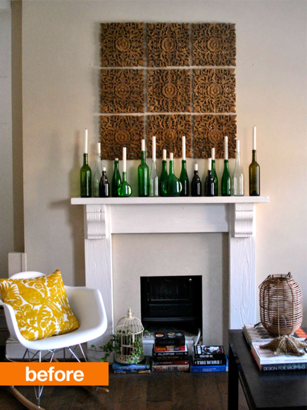 Before & After: Marvelously Moody Dark Fireplace Wall