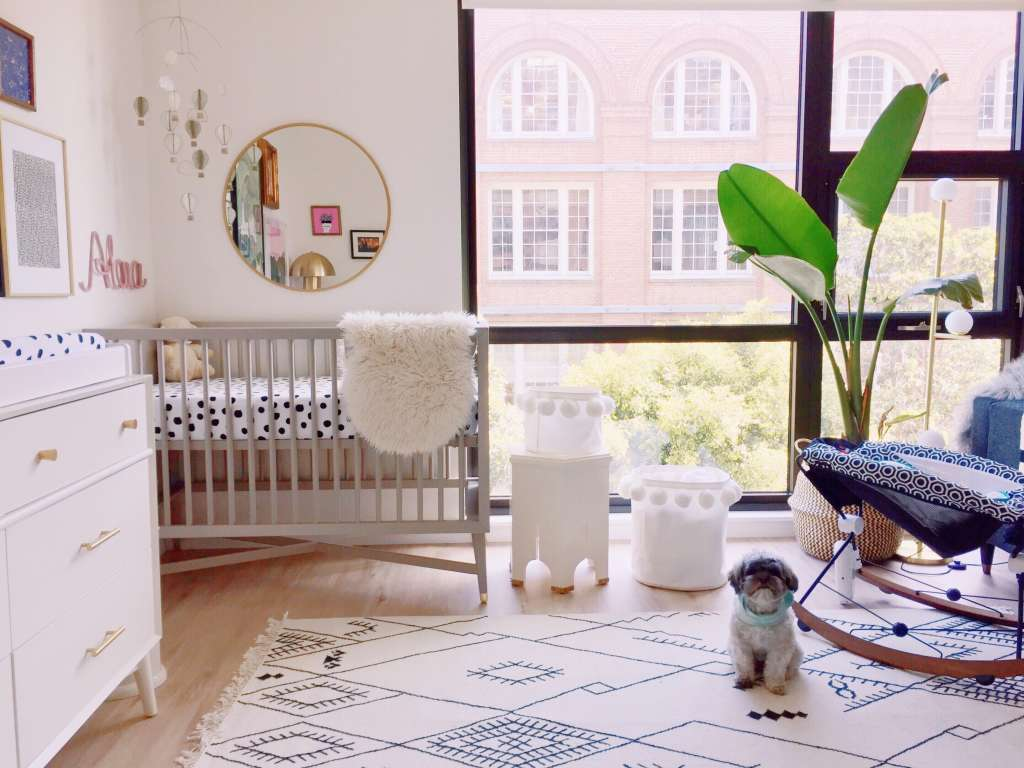 New Parents Stylishly Squeeze a Nursery into a Living Room