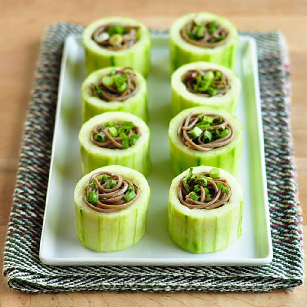 Mini Cucumber Caterpillars Recipe: Appetizer Recipe: Chilled Soba In Cucumber Cups